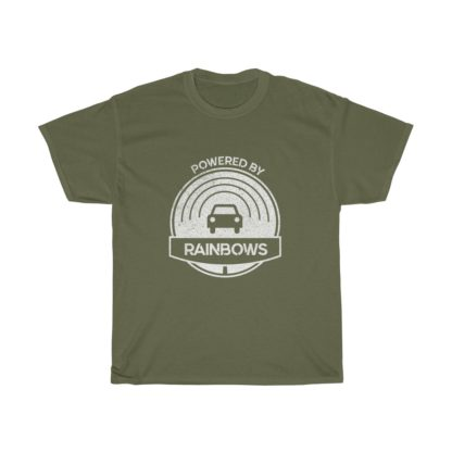 powered by rainbows green connected car tshirt