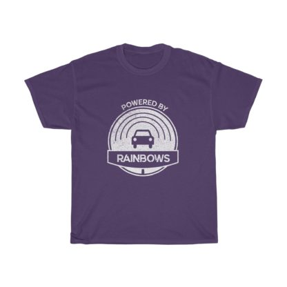 powered by rainbows purple connected car tshirt