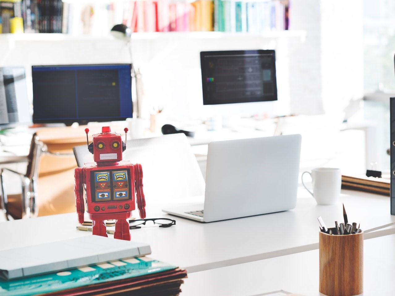ai robot on a white desk