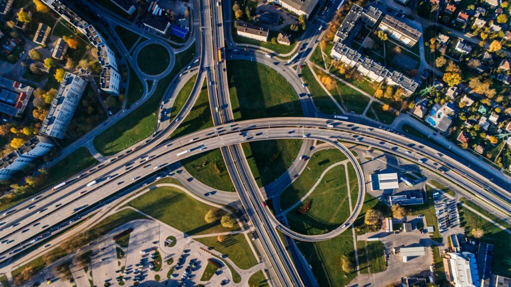 aerial view roads