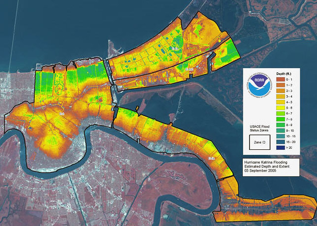 LiDAR map of flooding in New Orelans