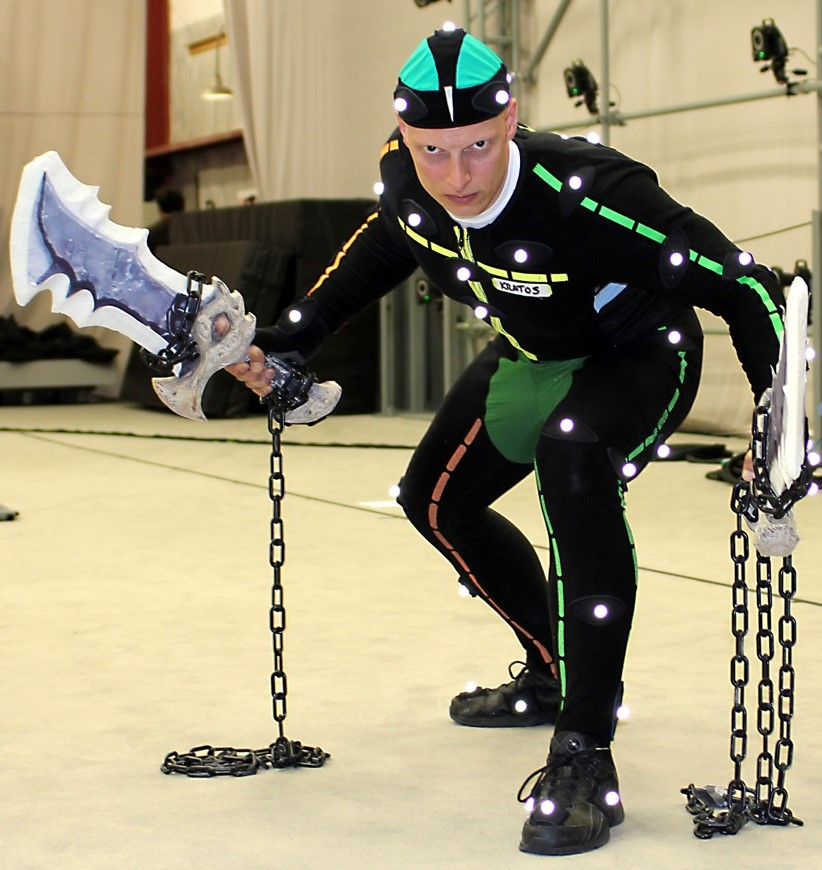 Video game performer in motion capture suit
