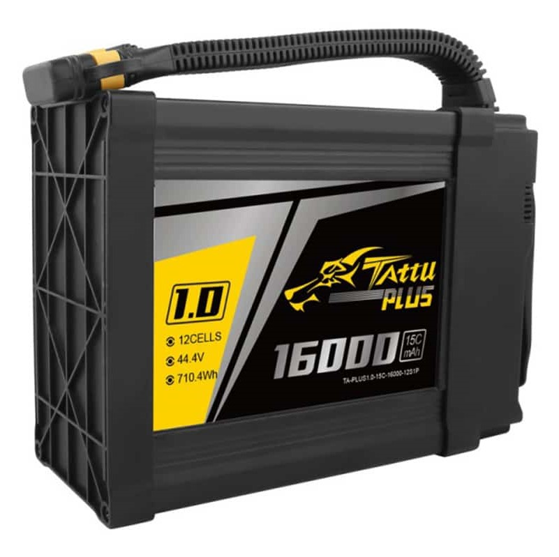 Tattu Plus 1.0 16000mAh 44.4V 15C 12S1P Lipo UAV Battery with AS150U plug