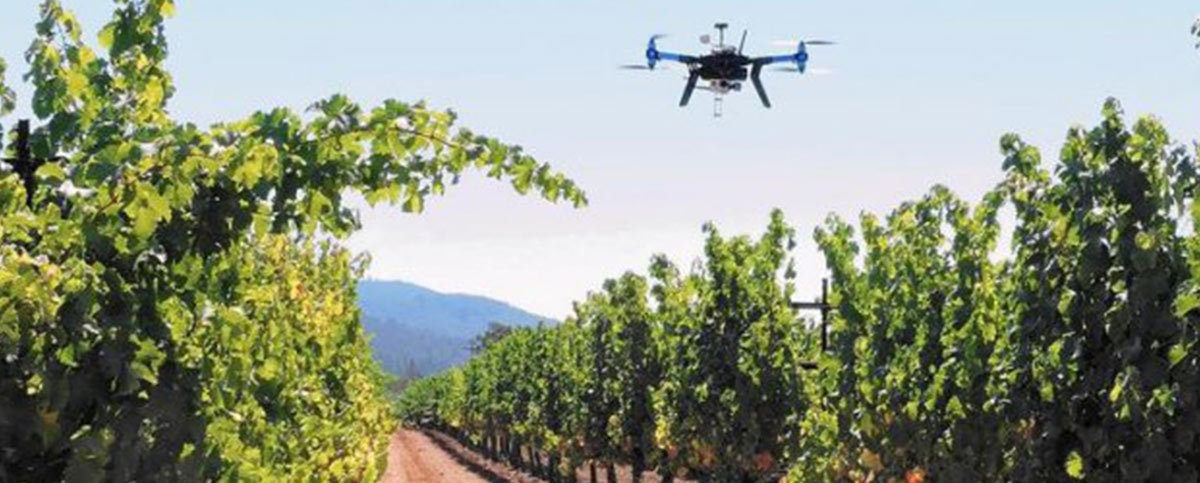 Inspired Flight IF750 commercial drone with multi sensor payload scanning a vineyard
