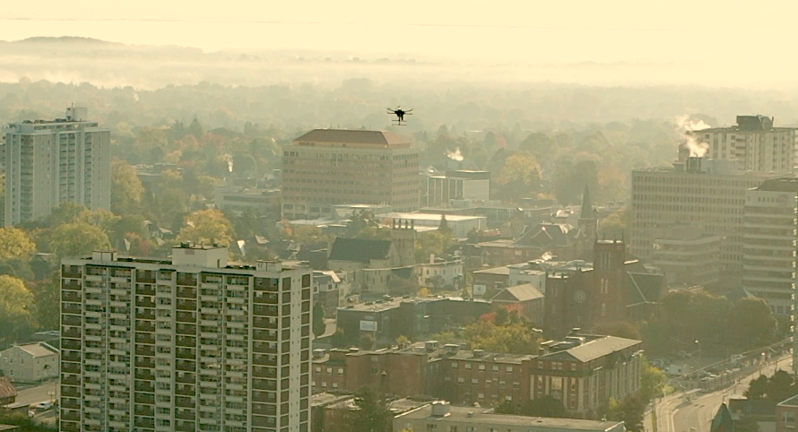 IF1000 Drone performing a flight in the urban area of downtown Kitchener using the AirMatrix network and platform